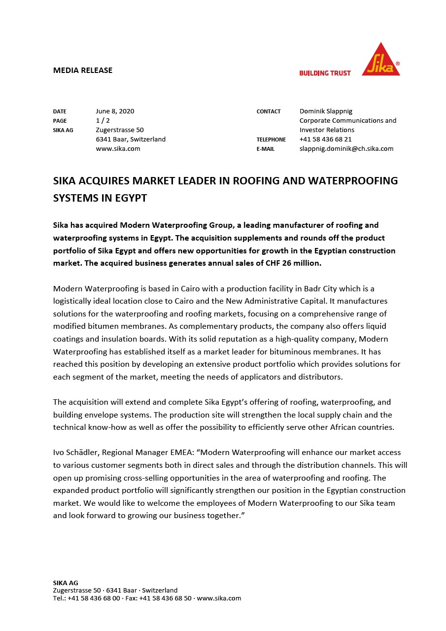 Sika Acquires Market Leader in Roofing and Waterproofing Systems in Egypt - June 2020